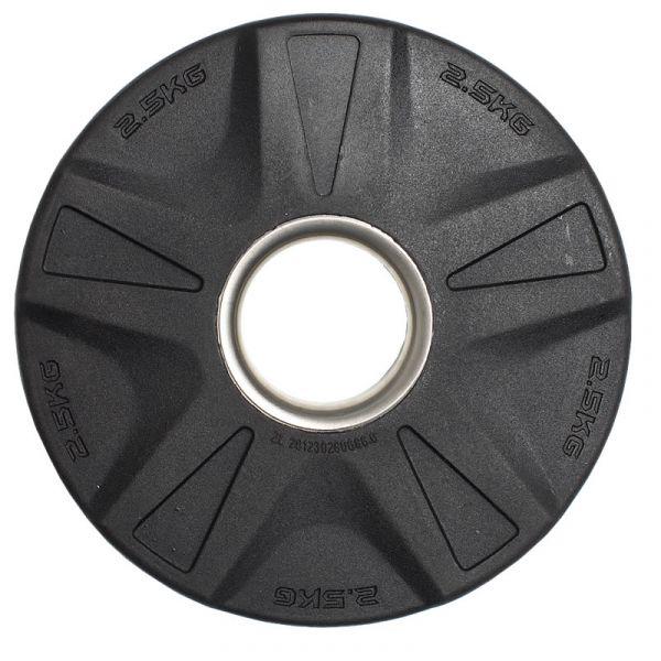 CARDIOfitness Olympia-Hantelscheibe Gummi mit Stahleinsatz 50mm 2,5kg